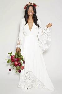 Simple Bohemian Long Sleeves Deep V Neck Hippie Beach Boho Wedding Gown