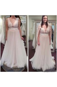A Line Jewel Lace Tulle Button Zipper Wedding Dress