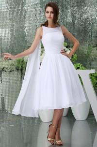 Sleeveless Chiffon A-Line Tea-Length Dress with Pleats