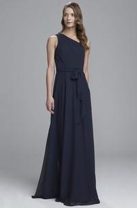 A-Line Sleeveless Bowed Floor-Length One-Shoulder Chiffon Bridesmaid Dress