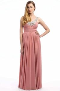 Beaded Sleeveless Strapped Long Chiffon Prom Dress With Pleats