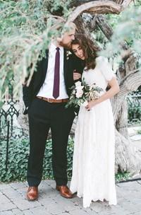 A Line Jewel Lace Zipper Wedding Gown
