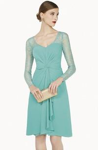 V Neck Illusion Long Sleeve Knee Length Chiffon Prom Dress With Cascading Skirt