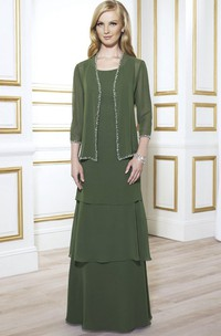 Floor-Length Beaded Scoop Neck 3-4 Sleeve Chiffon Mother Of The Bride Dress