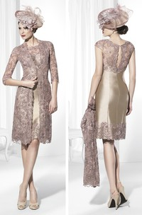 Scoop-Neck Half-Sleeve Knee-Length Appliqued Lace&Satin Prom Dress With Jacket