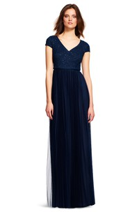 Sheath Lace Cap-Sleeve V-Neck Long Bridesmaid Dress With Pleats And Sequins
