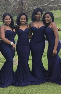 Sexy Mermaid Spaghetti Straps Sweetheart Bridesmaid Dress With Open Back And Ruching