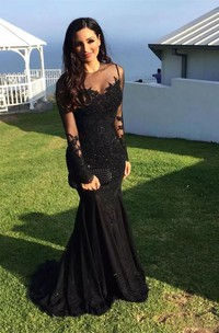 Long Sleeve Mermaid High Neck Floor-length Sweep Brush Train Lace Evening Dress with Appliques
