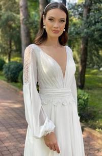 A Line Long Sleeve Chiffon Luxury Open Back Illusion Wedding Dress with Ruching amd Sash