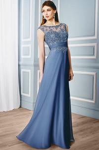 Sheath Cap-Sleeveless Bateau Floor-Length Appliqued Formal Dress With Illusion Back