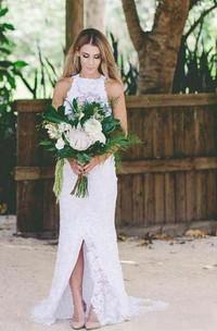 Sheath High Neck Lace Open Back Wedding Dress