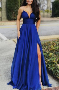 Stunning Front Split Spaghetti Plunging Sexy Dress With Sash And Pleats