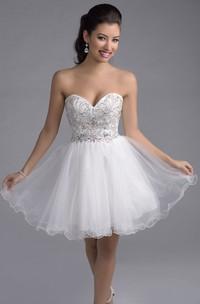 Mini Sweetheart A-Line Tulle Prom Dress With Rhinestone Embellishment