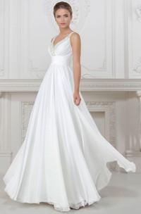 Sheath V-Neck Floor-Length Sleeveless Ruched Satin Wedding Dress With Beading
