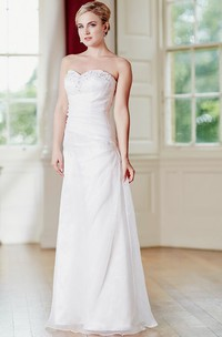 Sheath Draped Maxi Sweetheart Satin&Tulle Wedding Dress With Beading And Corset Back