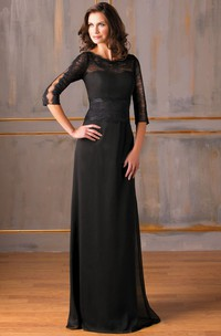 3-4 Sleeved Long Chiffon Mother Of The Bride Dress With Lace And Sweep Train