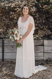 A Line Scoop Chiffon Lace Open Back Zipper Wedding Gown