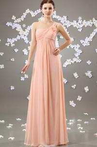 Chiffon Asymmetrical One-Shoulder Maxi Dress With Flower