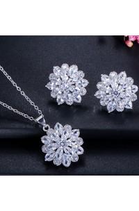 Elegant Bridal Snow Shaped Rhinestone Necklace and Earrings Jewelry Set