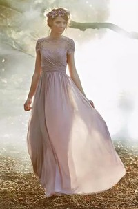 Short Sleeve A-line Jewel Floor-length Chiffon Bridesmaid Dress with Appliques and Ruching