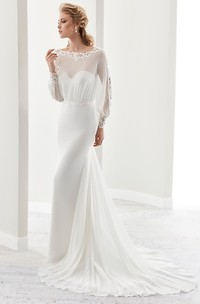 Long-Sleeve Jewel-Neck Sheath Gown With Illusion Design And Keyhole Back