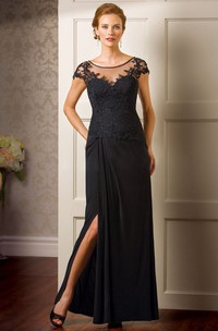 Cap-Sleeved Long Mother Of The Bride Dress With Side Slit And Appliques
