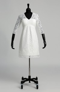 Lace A-line V-neck Illusion 3/4 Length Sleeve Ruched Wedding Dress