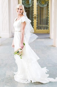 A Line V-neck Chiffon Zipper Wedding Gown