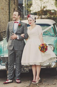 A Line V-neck Satin Lace Zipper Wedding Gown