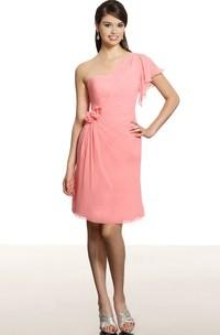 Short Floral One-Shoulder Sleeveless Chiffon Bridesmaid Dress With Draping