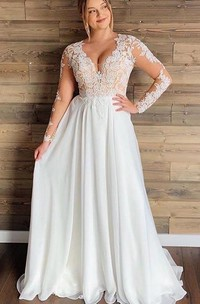A Line Long Sleeve Chiffon Lace Bohemian Button Illusion Wedding Dress with Pleats