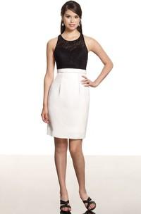 Pencil Mini Sleeveless Lace Scoop Neck Jersey Bridesmaid Dress