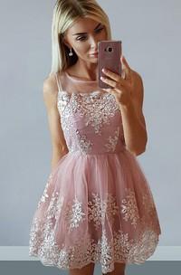 A-line Short Mini Sleeveless Bateau Appliques Pleats Ruching Lace Homecoming Dress