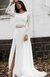 Chic Two Piece Bateau Chiffon Lace Long Sleeve Wedding Dress with Keyhole Back and Split Front