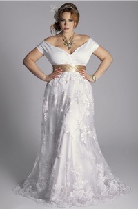A Line Off-the-shoulder Jersey Lace Zipper Wedding Dress