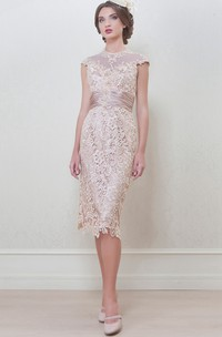 Pencil Knee-Length High Neck Appliqued Cap Sleeve Lace Mother Of The Bride Dress