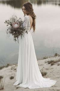 Simple A-line Wedding Dress with Lace Long Sleeves And V-neck