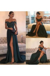 Sleeveless A-line Off-the-shoulder Floor-length Court Train Chiffon Lace Evening Dress with Split Front