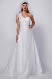 One-Shoulder Long Beaded Ruffled Chiffon Wedding Dress