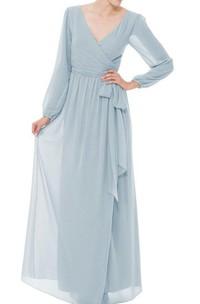 Long Sleeve V-neck Chiffon Long Dress with Bow