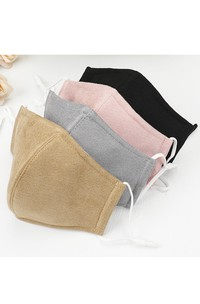 Non-medicial Faux Suede Pure Color Thick Cotton Washable Face Mask In 5 Colors
