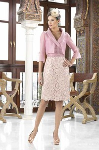 Knee-Length Caped V-Neck 3-4 Sleeve Satin Mother Of The Bride Dress