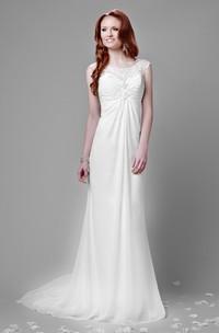 Empire Chiffon Bateau Neck Wedding Dress With Keyhole Back And Lace Top