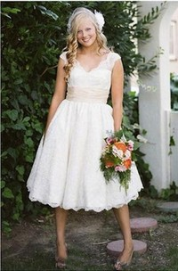 A Line V-neck Lace Zipper Low-V Back Wedding Gown