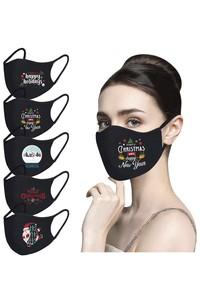 Non-medicial Black Cotton Christmas Reusable Face Mask In 10 Patterns