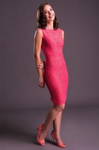 Pencil Sleeveless Jewel-Neck Split-Back Knee-Length Lace Prom Dress