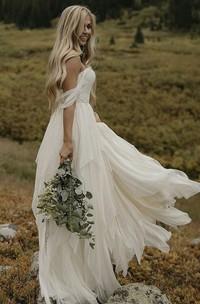 Floor Length Off-the-shoulder Sweetheart Ethereal Chiffon Wedding Dress