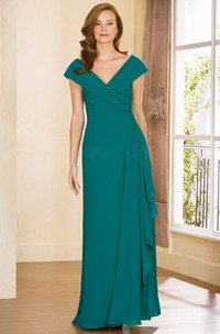 V-Neck Cap-Sleeved Ruffles Gown With Sequined Neckline