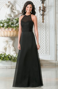 High-Neck A-Line Long Bridesmaid Dress With Illusion Style