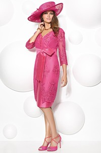 Knee-Length 3-4 Sleeve V-Neck Appliqued Satin Mother Of The Bride Dress With Bow